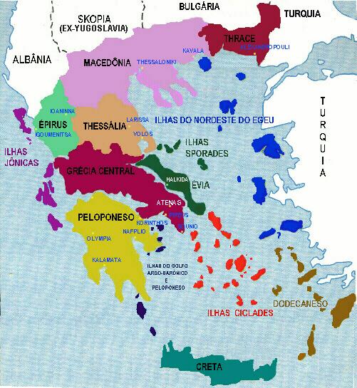 mapa geral da grécia